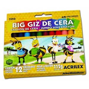 Big Giz de Cera Acrilex Grande com 12 cores