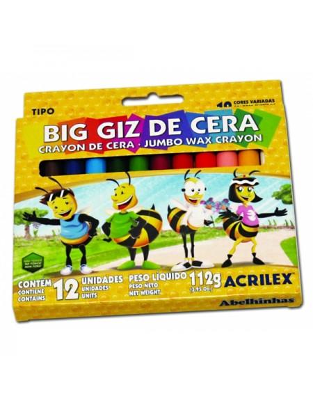 Big Giz de Cera Acrilex Escolar Grande com 12 cores