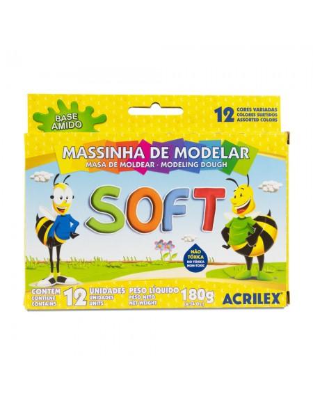 Massa de Modelar Escolar Acrilex Soft de Amido com 12 cores