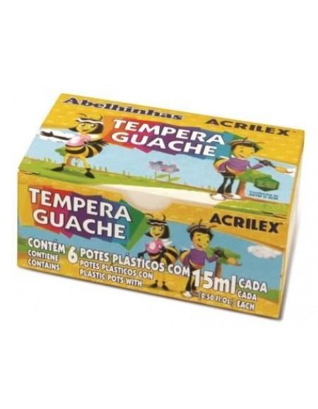 Tinta Acrilex Tempera Guache Abelinha CX C/ 6 Cores Sortidas 15ml