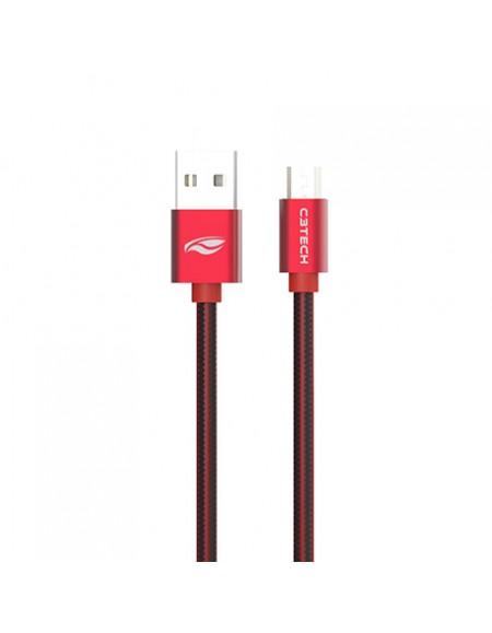 Cabo USB x Micro USB C3Tech, 2 metros Vermelho