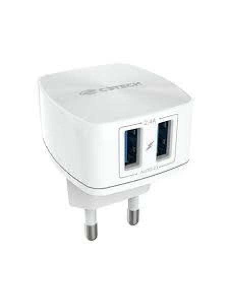 Carregador de tomada C3 Tech 2 portas USB Bivolt Branco Uc-240WH