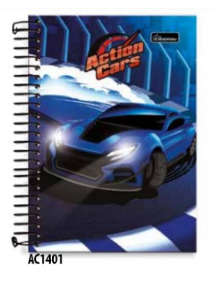 Caderno Cadersil Capa Dura Aramado 1/4 1x1 96 folhas Action Cars