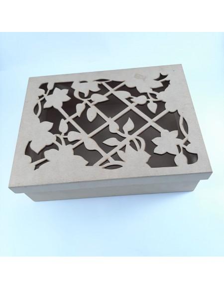 Caixa de MDF com detalhes de flor 26cmX20cmX8cm
