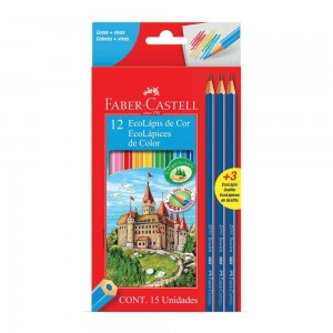 Lápis de Cor Faber-Castell 12 Cores+3 Lápis Grafite