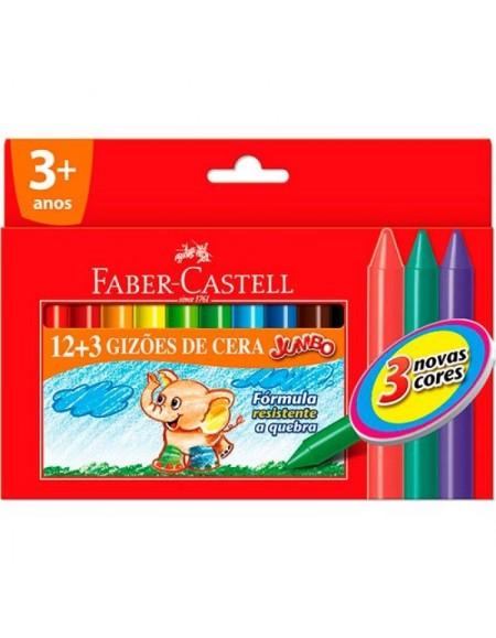Giz de Cera Faber-Castell Grande 12 cores +3GIZÕES