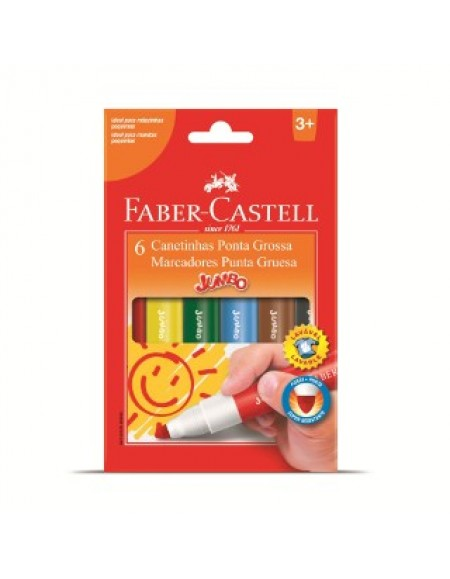 Canetinha Faber-Castell JUMBO 6 Cores
