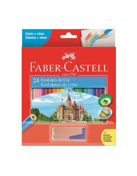 Lápis de Cor Faber-Castell 24 Cores+1Apontador C/Depósito