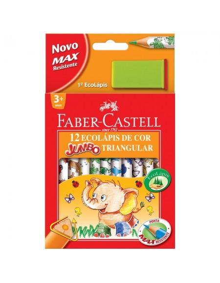 Lápis de Cor Faber-Castell JUMBO 12 Cores+1Apontadro JUMBO