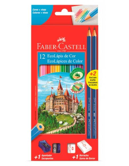 Lápis de Cor Faber-Castell Ecolápis 12 Cores +2 Lápis Grafite+Borracha+Apontador