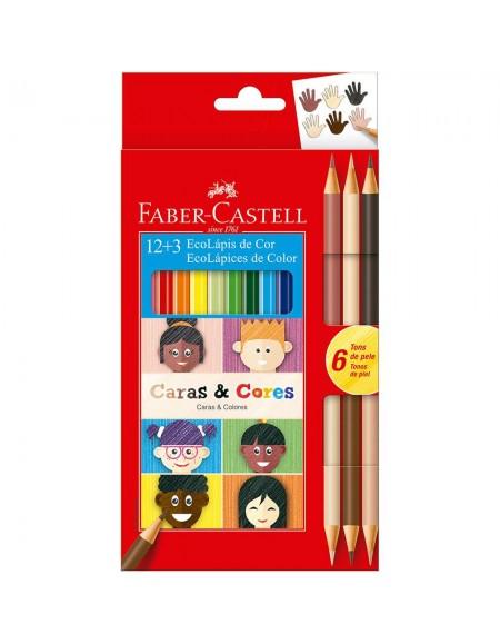 Lápis de Cor Faber-Castell 12 Cores+6 Tons de Pele