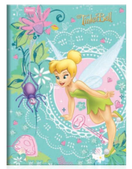 Caderno Foroni TinkerBell Plus Universitário Brochura 1x1 Capa Dura 96fls