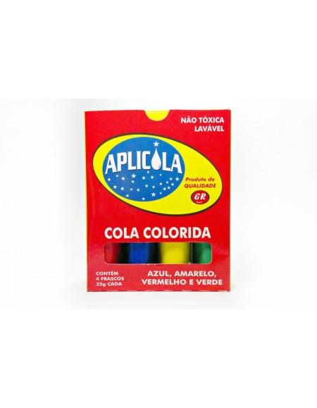 Cola Aplicola Colorida 25g Caixa C/4 Cores