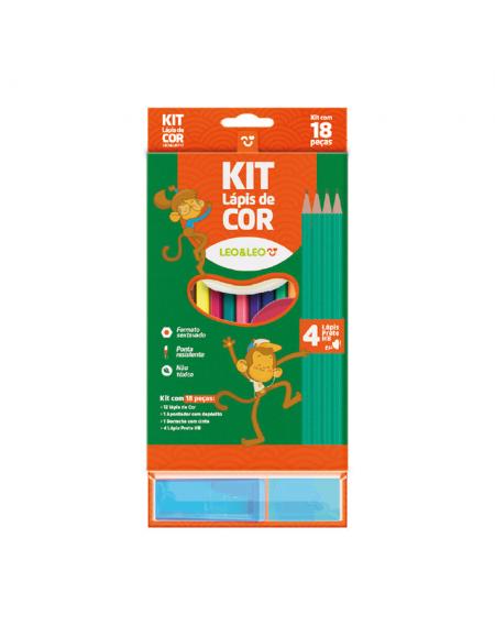 Kit de Lapis de Cor Leo e Leo 12 Cores Sextavado Com 4Lapis HB + Borracha + Apontador