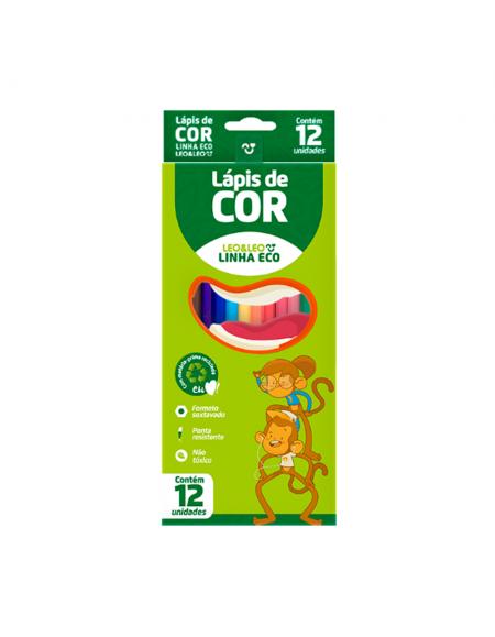 Lapis de Cor Leo e Leo 12 Cores Sextavado Resina Eco