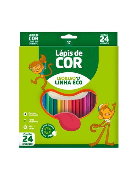Lapis de Cor Leo e Leo 24 Cores Sextavado Resina Eco