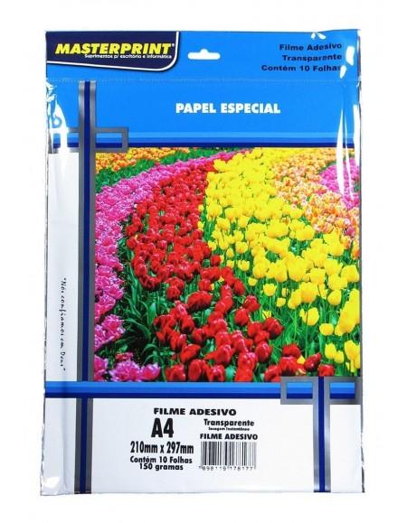 Papel Filme Adesivo A4 MasterPrint 150g pct c/10fls - Transparente