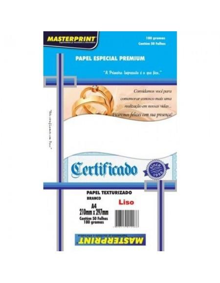 Papel Certificado Masterprint Diplomata Liso A4 180g pct c/50 fls - Branco