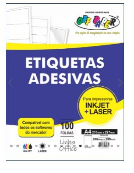 Etiqueta Off Paper Adesiva A4 210MMX297MM 1 Por Folha Caixa Com 100fls