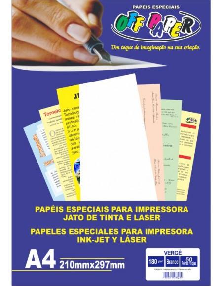 Papel A4 Verge 180G OFF Paper Branco PCT COm 50 Folhas