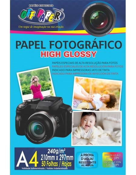 Papel Fotográfico Off Paper High Glossy 240G A4 Pacote com 50 Folhas