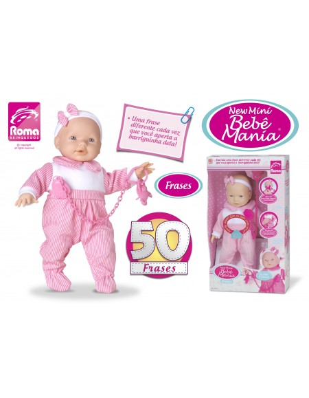 Boneca New Mini Bebê Mania 50 Frases 33 cm Roma Brinquedos