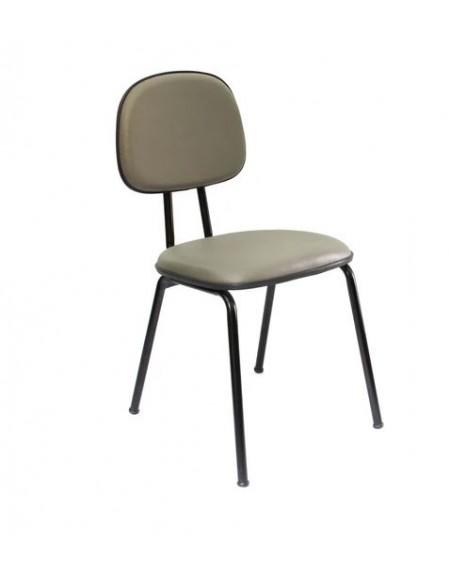 Cadeira Fixa De Escritório Secretária 3/4 Fixa Corino Preto