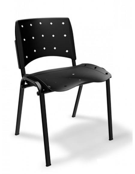 Cadeira Fixa Plastica Ergonômica Preta