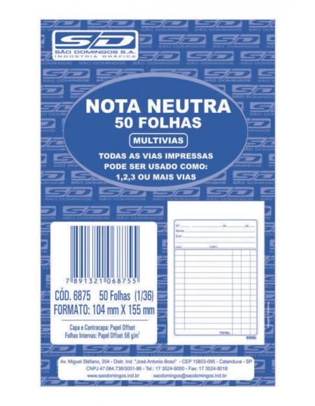 Nota Neutra São Domingos 1/36 Com 50 Folhas 104x155