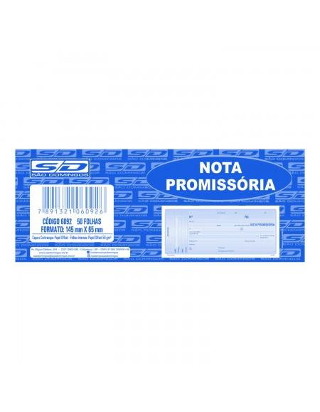 Nota Promissória São Domingos 50fls Pequena 145mm X 65mm PCT C/ 20