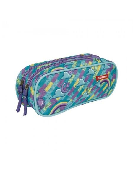 Estojo Sestini Arco Iris 2 Compartimentos