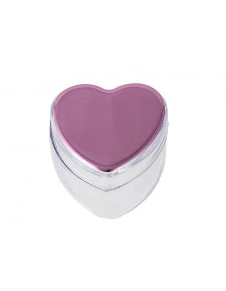 Caixinha Waleu Coração Rosa Metalizado 3,2cm x 4,3 cm