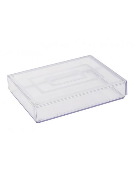 Caixa Waleu Retangular Cristal  14.5cm x 11cm x 2.75cm